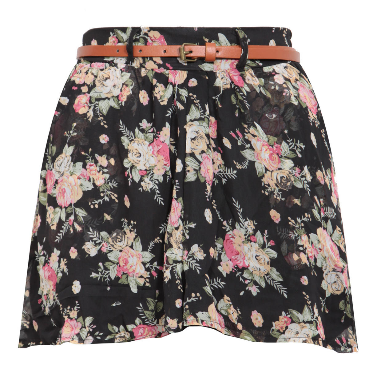 Black Floral Belted Culotte Short Preview
